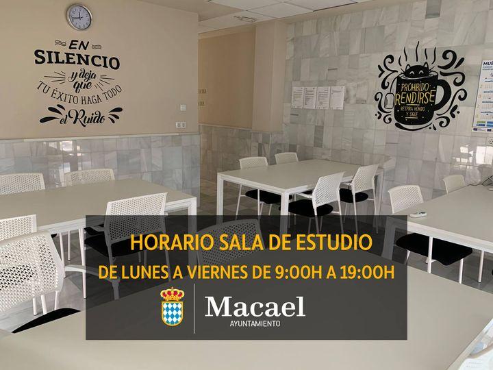 El Ayuntamiento de Macael anuncia el nuevo horario de la Sala de Estudio